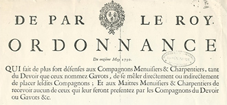 Interdiction du compagnonnage à Montpellier 1730