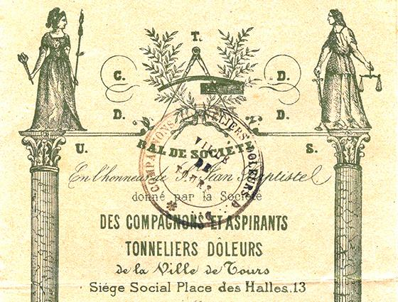 Invitation to the Companion Coopers of Tours' ball (1908)