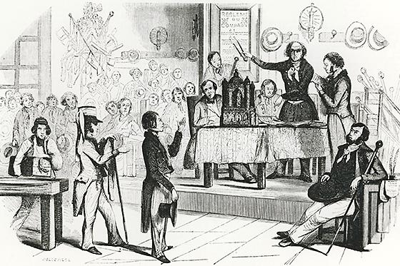 "The reception ceremony, according the newspaper ""L'Illustration"" in 1845"