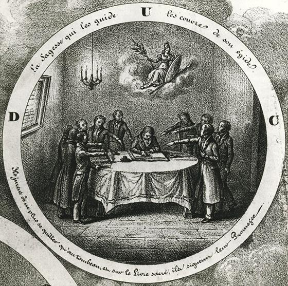 The oath, detail from a lithograph of the Companion Cloth-makers, circa 1850