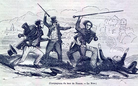 "Brawl. Engraving from ""L'Illustration"", 1845"