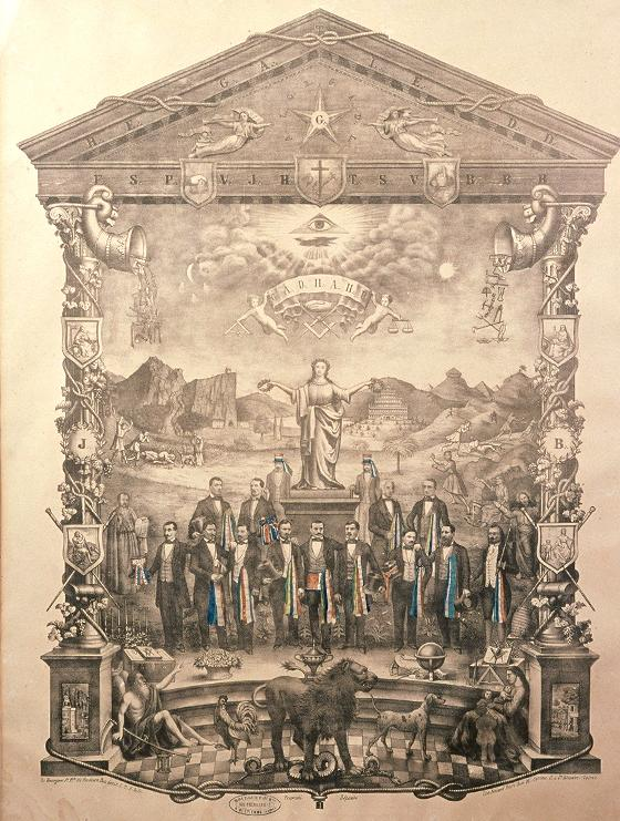 "Lithograph, ""The Union of Building Trades"", circa 1875, featuring a number of symbols of Masonic origin"