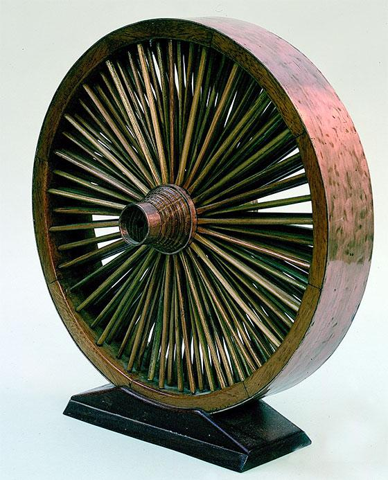Wheel with multiple spokes, masterpiece by a Companion Wheelwright